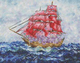 Cross-stitch «Цветочные паруса» Надежда Григорьева (Mandarinks)