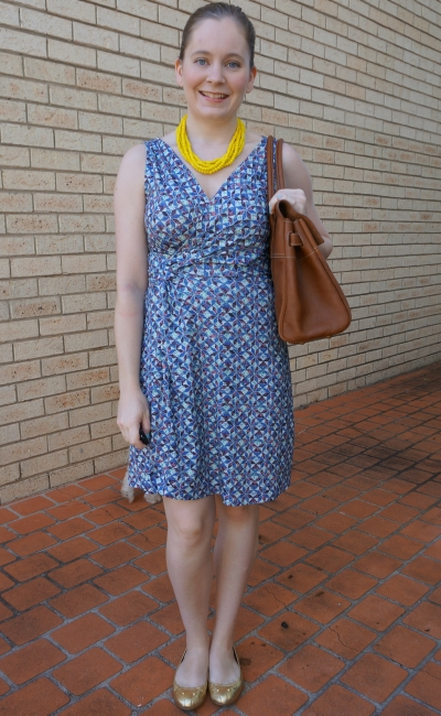 Target Dannii Minogue Petites geometric printed wrap dress with Mulberry bayswater and mouse flats | awayfromblue