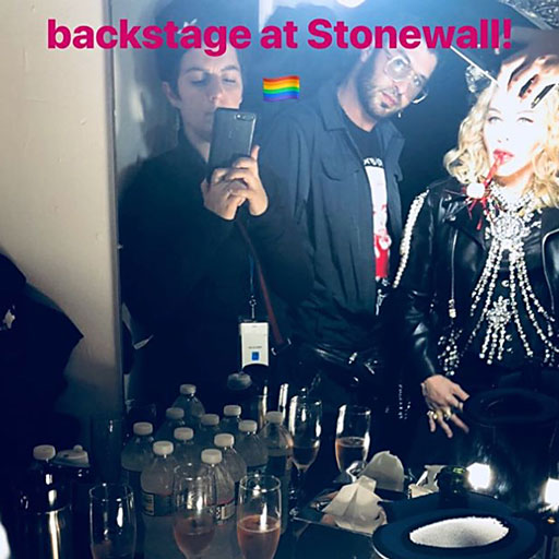 Madonna surprised the crowd last night with a midnight appearance at the iconic Stonewall Inn in New York City.