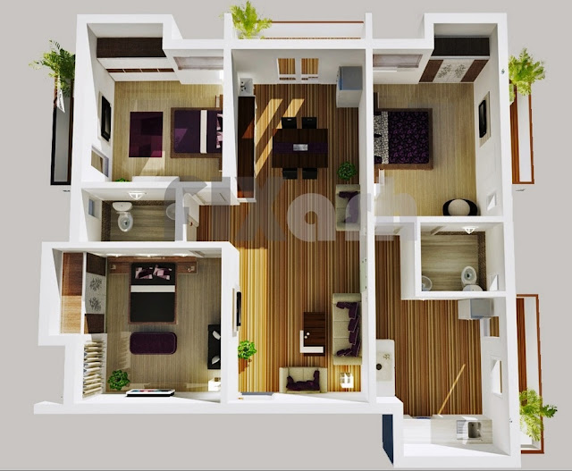 very-nice-three-bedroom-house-floor-designs-ideas-with-wooden-deck-floor-board-plants-and-nice-bathrooms