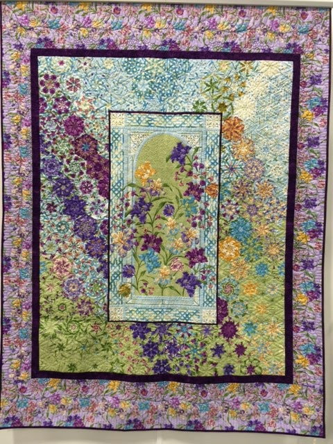 Inspired by Fabric: Garden Rendezvous Hexified Panel Quilt