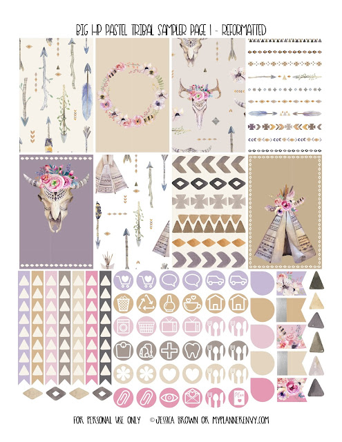 Free Printable Reformatted Big HP Pastel Tribal Sampler Page 1 from myplannerenvy.com