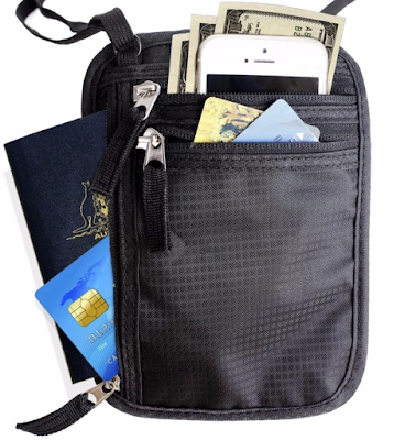 Neck Wallet w/RFID Blocking Concealed Travel Pouch & Passport Holder