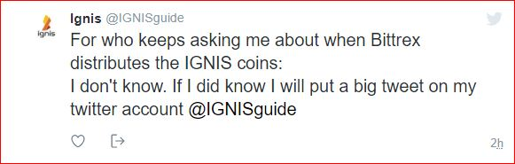 آخر خبر حول توزيع عملة  اكنيس Ignis  على منصة البتركس