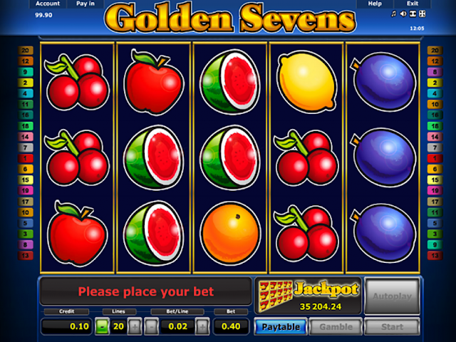 Main screen from Golden Sevens slot game