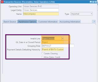 Oracle Receivable AutoInvoice