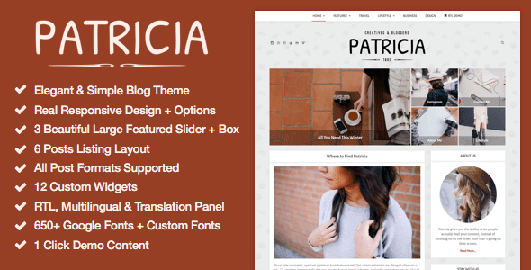 Patricia Feature Rich WordPress Blog Theme