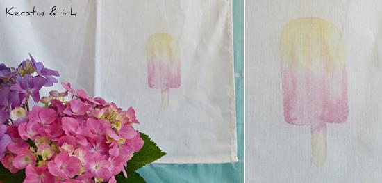 DIY Lavendeldruck Eisprint Küchenhandtuch
