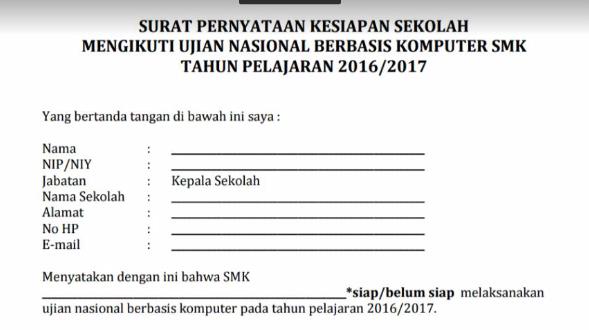 Downlaod Contoh Surat Pernyataan Kesiapan Unbk Smp Mts Sma Ma Smk