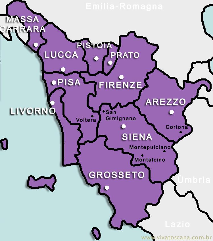 toscana itália mapa Principais cidades Toscanas | Viva Toscana toscana itália mapa