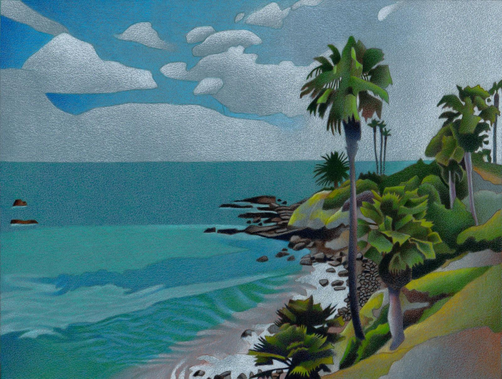 Impression Evergreen: Laguna Beach - Colored Pencil Drawing