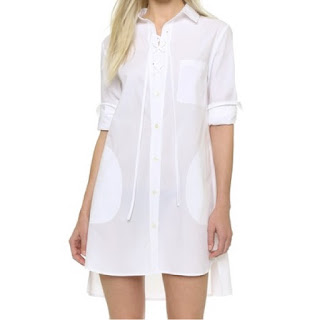 Thakoon lace front white shirtdress