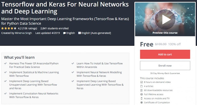 [100% Off] Tensorflow and Keras For Neural Networks and Deep Learning| Worth 199,99$