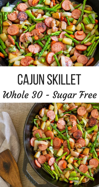 Spicy Cajun Asparagus and Sausage Skillet