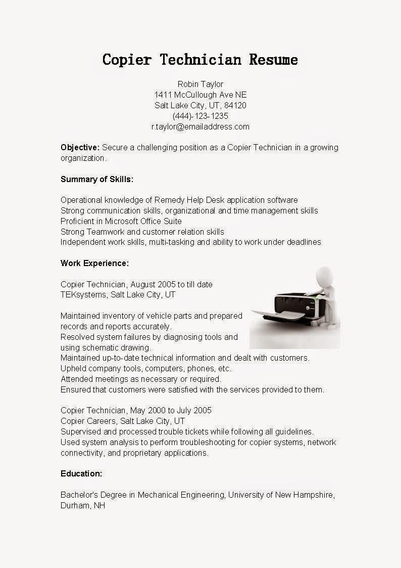 copier technician resume samples