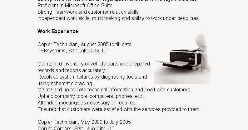 copier it technician resume sample