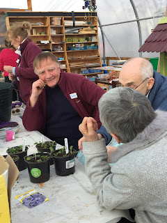 Volunteer chatting to Gardener and their carer