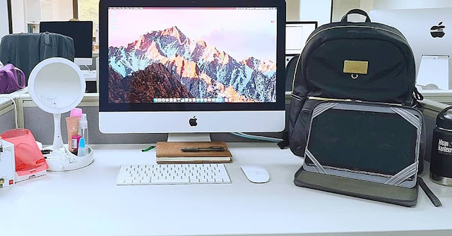 minimalist workstation, minimalist setup, imac, huawei mediapad m5 lite, samsonite backpack