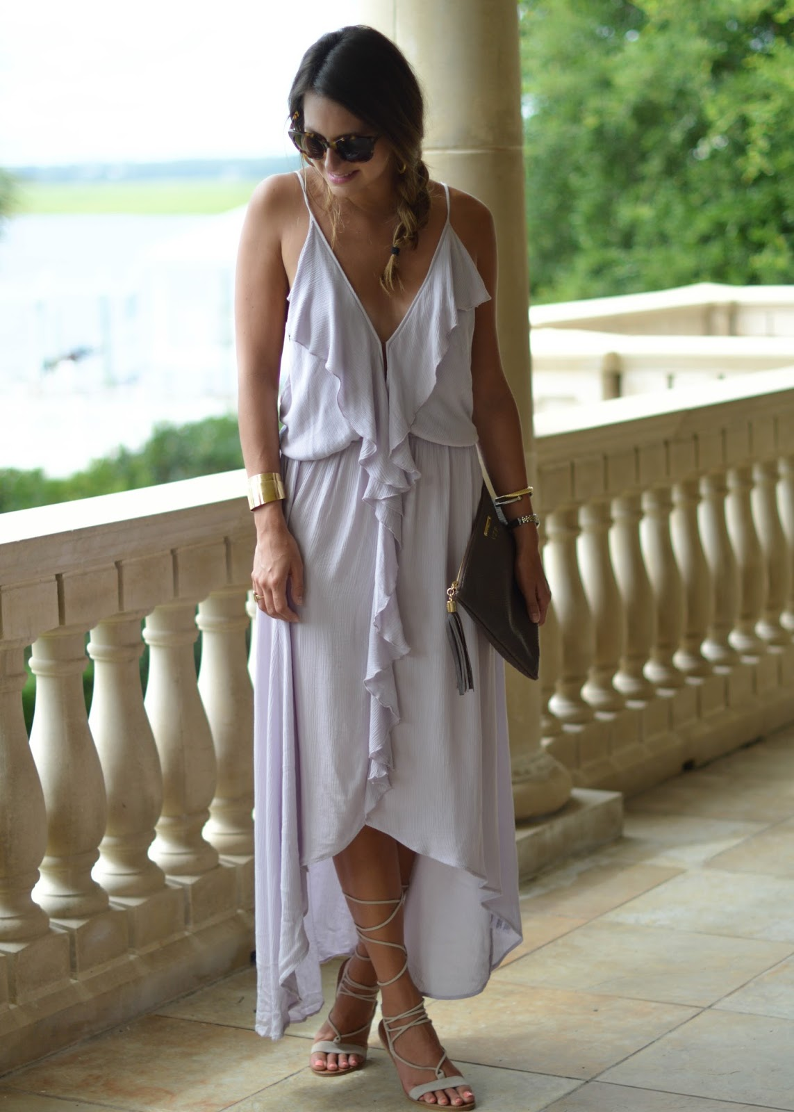 flowy purple dress / Southern Style / lace up sandals