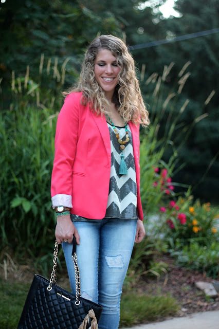 sequined chevron tank, coral blazer, distressed jeans, black tote