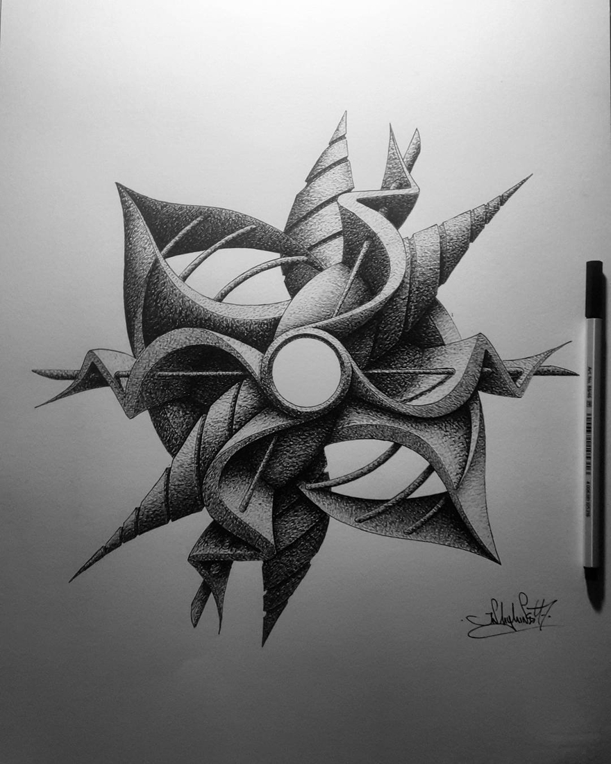 10-in-my-mind-art-Complex-Geometric-shapes-in-Ink-Stippling-Drawings-www-designstack-co