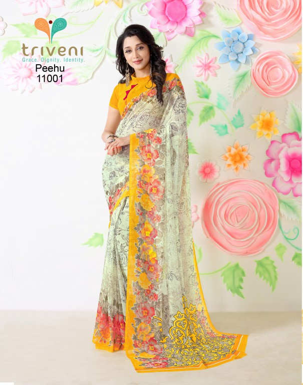 Peehu – Stylish And Designer Chiffon Printed Saree