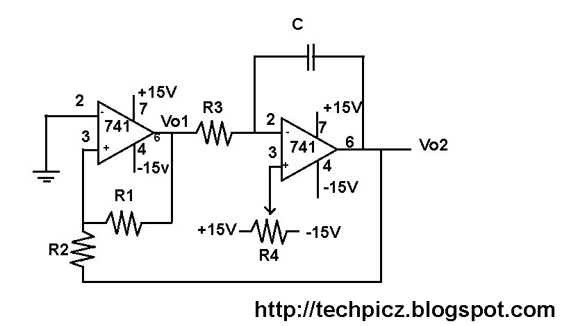 TECHPICZ: SAWTOOTH WAVE GENERATOR USING OP-AMP