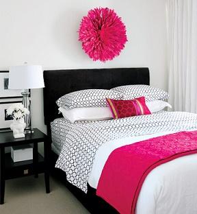 Dormitorio juvenil negro rosa