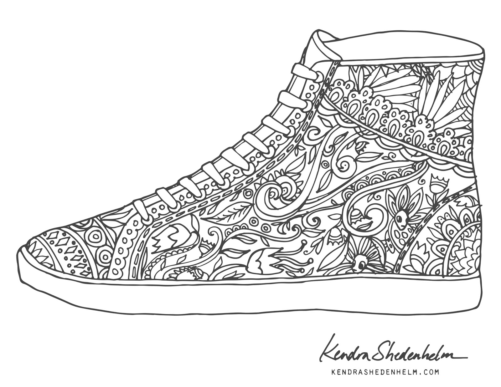 coloring pages of shoes - sketchbook by kendra shedenhelm free coloring pages