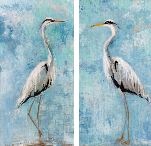 2 Piece Coastal Canvas Art Blue Heron Painting