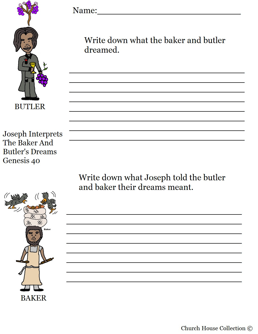 Joseph Interprets The Baker And Butlers Dream Activity Sheet For Childrens Church