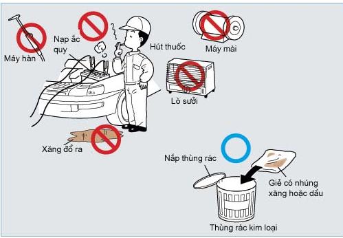 tránh hỏa hoạn trong xưởng sửa chữa ô tô