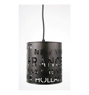 Lampa metalowa czarna z napisami