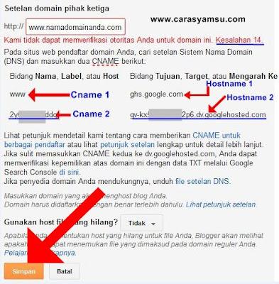 Menyimpan Domain TLD di Dasbor Blogger