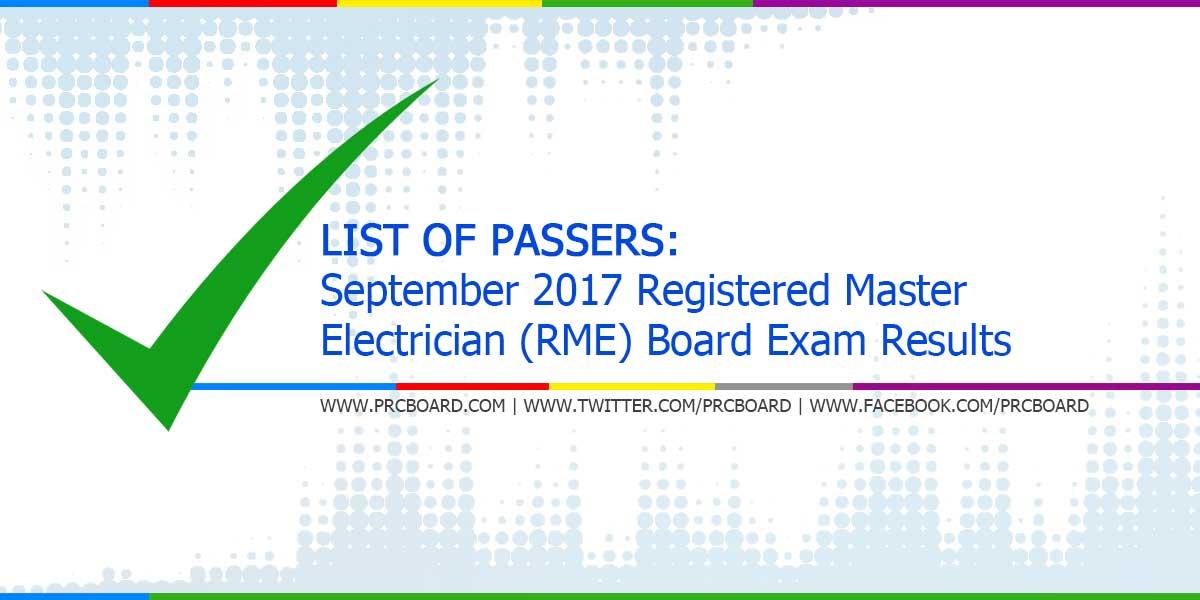LIST OF PASSERS: September 2017 Registered Master