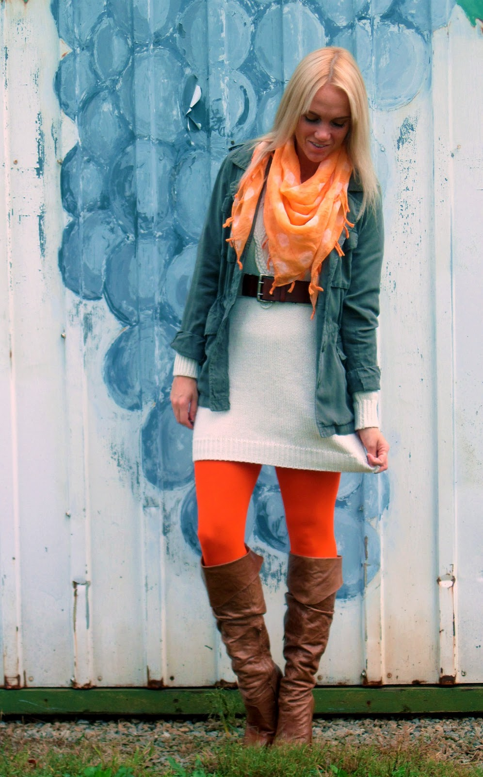 Orange Tights Military Jacket Sweater Dress Pop Of Style