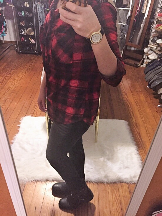 red plaid shirt outfit of the day