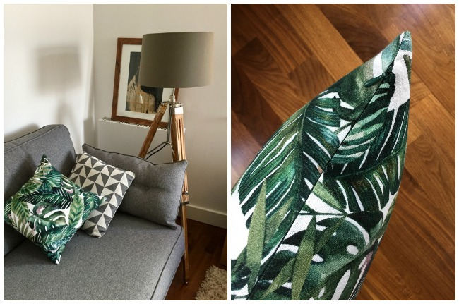 Diary of a Chain Stitcher: Cushion Cover in Tropical Leaf Print Brushed Cotton from Stoff Stil