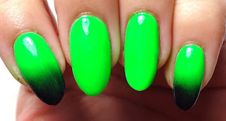 Green and Black Gradient Nails