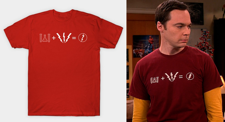 d87fa1c19 Chemicals + Lightning Bolt can only equal one thing — The Flash, of course!  This t-shirt is similar to another one of Sheldon's ...