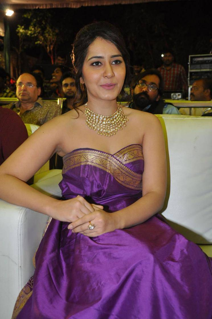 Rashi Khanna Latest Hot Stills In Violet Dress
