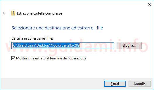 Windows 10 finestra conferma e destinazione estrazione file ZIP