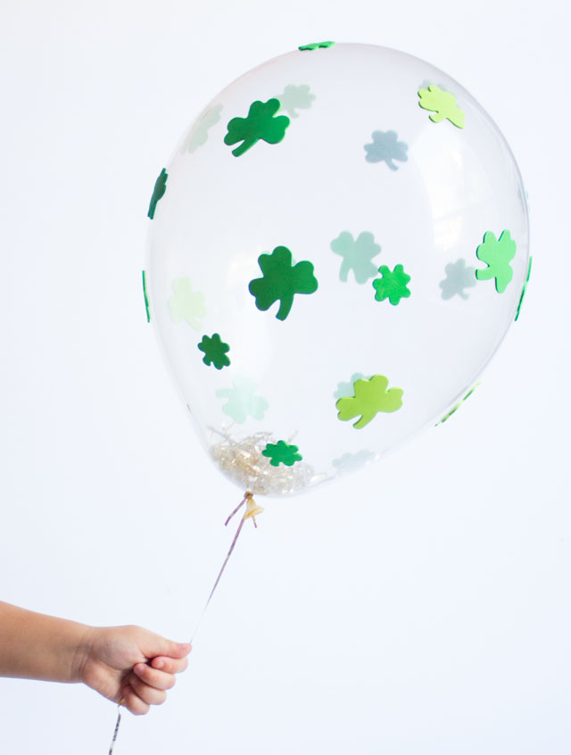 How to make St. Patrick's Day balloons with shamrock stickers!