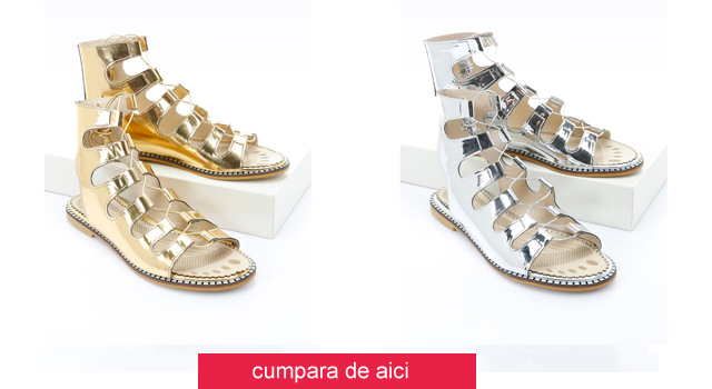 Sandale aurii/argintii cu siret si talpa joasa ieftine la moda