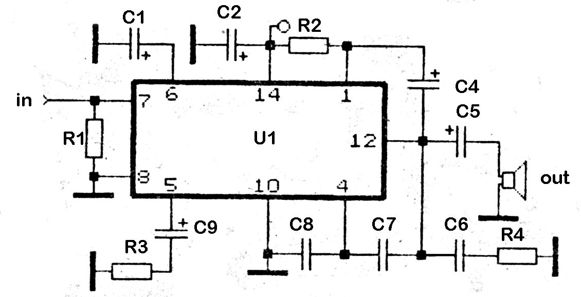 2,3 Watt Low audio power amplifier