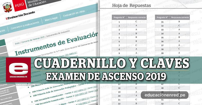 MINEDU: Cuadernillo y Claves del Examen de Ascenso 2019 (Prueba Única Nacional) www.minedu.gob.pe