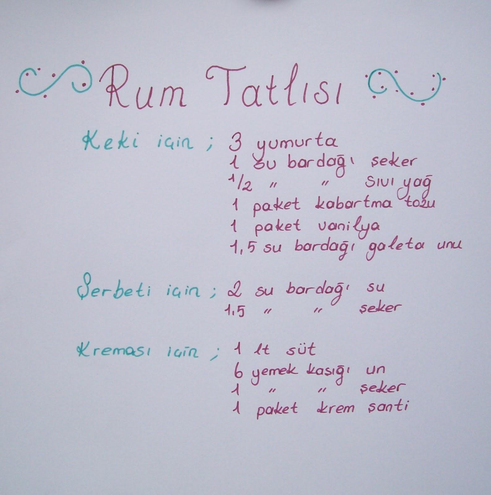 Rum Tatlısı Tarifi