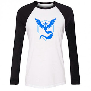 Pokemon GO Women Ladies O-Neck Raglan Long Sleeve Hot Game Print Slim T-Shirt Tops