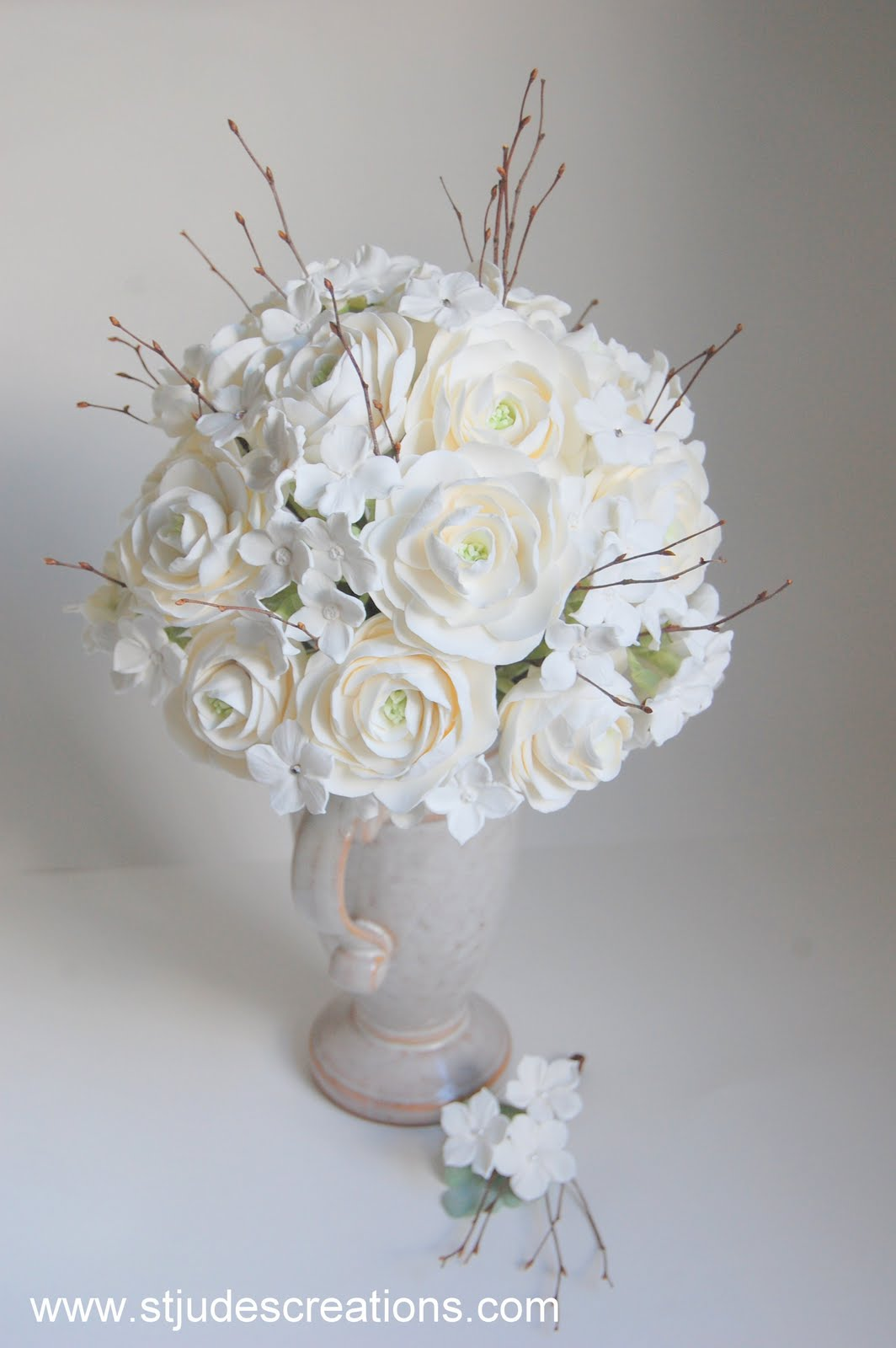 Winter Wedding Bouquet With Twigs In Clay Ranunculus