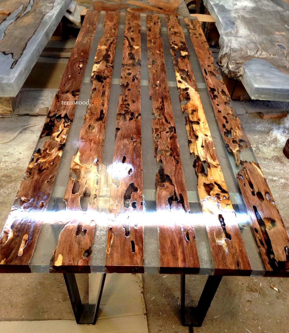Gunstock Colored Epoxy Inlay: Resin Table 2016 Teriswood – Jerusalem